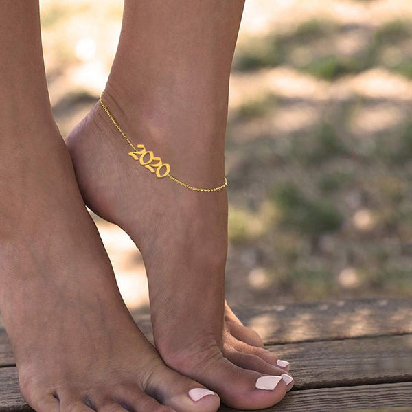 18k Gold Plated Personalized Birth Year Number Anklet
