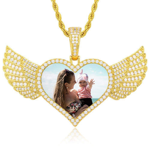 Angel Wings Heart Pendant 18K Gold Plated Personalized Photo Necklace
