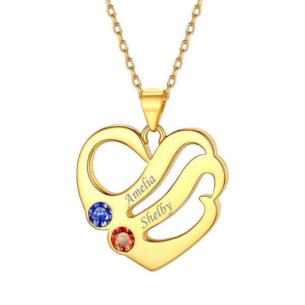 18K Gold Plated Personalized Love Heart Necklace with 2 Birthstones Engraved 2 Name