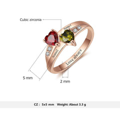 18k Rose Gold Plated Personalized Couples Name Heart Birthstones Promise Ring