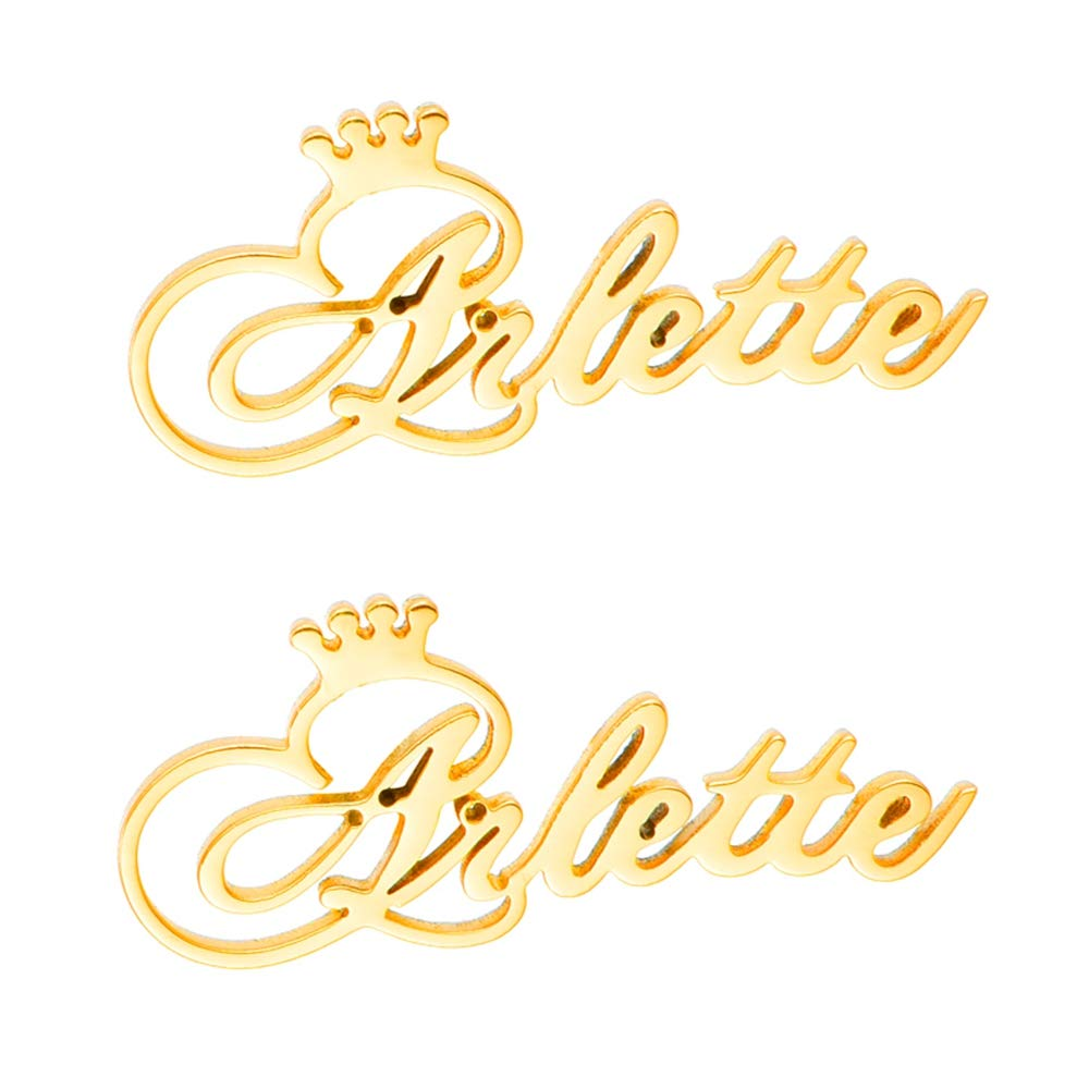 Gold Plated Personalized Name Earrings with Crown