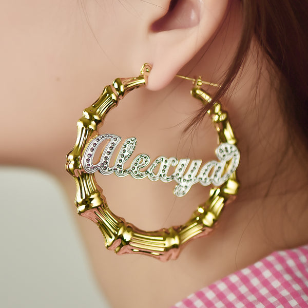 18K Gold Plated Personalized Two Tone Bamboo Hoop Name Earrings