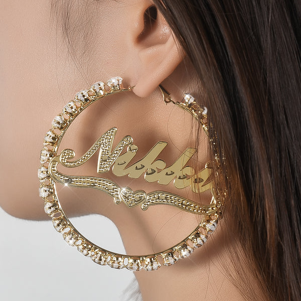 18k Gold Plated Personalized Hoop Name Earrings