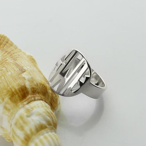 Sterling Silver Initial Monogram Men's Ring