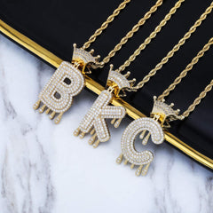 18k Gold Plated Crystal Dripping Crown Letter Initial Necklace