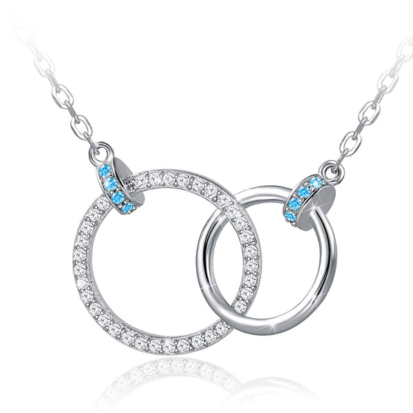 925 Sterling Silver Two Interlocking Infinity Double 2 Blue Circles Pendants Necklace - Silviax