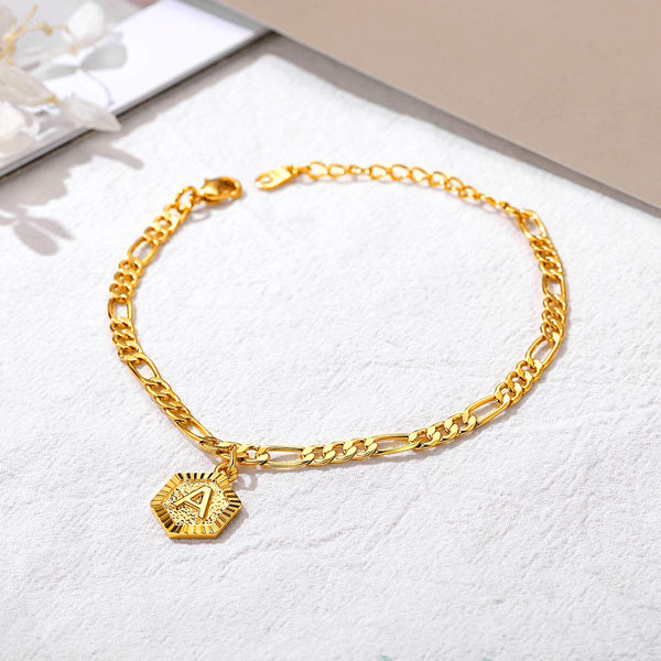 Hexagon Initial Letter 18K Gold Plated Anklet