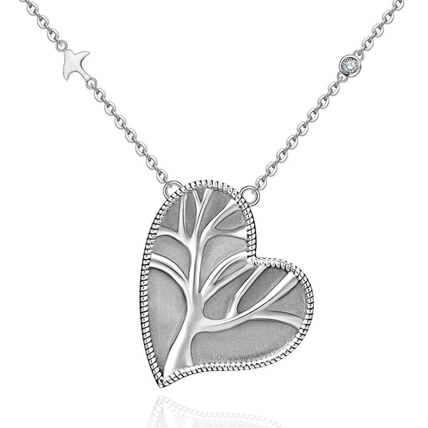 Tree of Life Necklace 925 Sterling Silver Classic Oxidized Heart Necklace Pendant For Girls