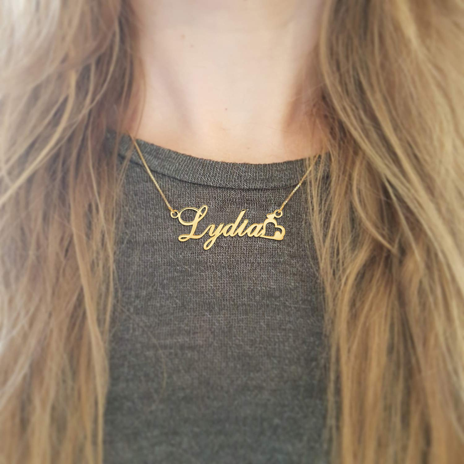 18K Gold Plated  Name Necklace Personalized Jewelry - Silviax
