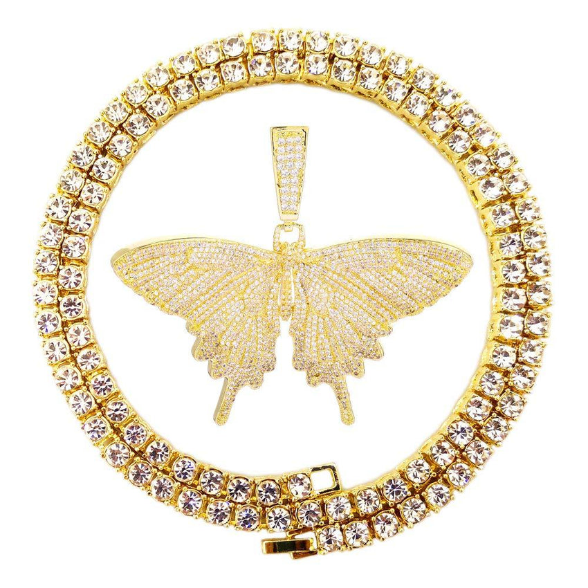 Butterfly Pendant Necklace Hip Hop Style Jewelry Gold Plated for Men Women