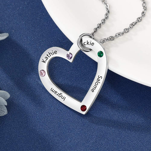 Mother 4 Name with Birthstones Personalized Heart Pendant Family Necklace