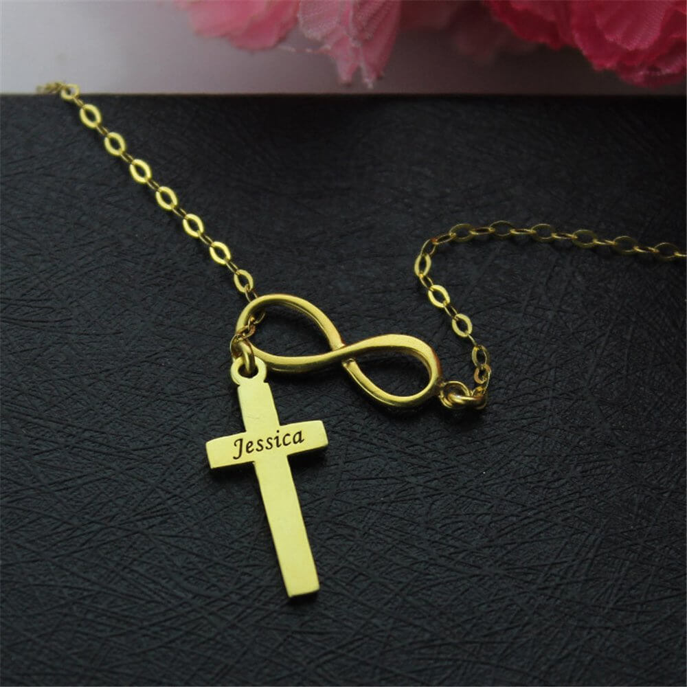 Cross Bar Infinity Necklace With Name Pendant For Gift