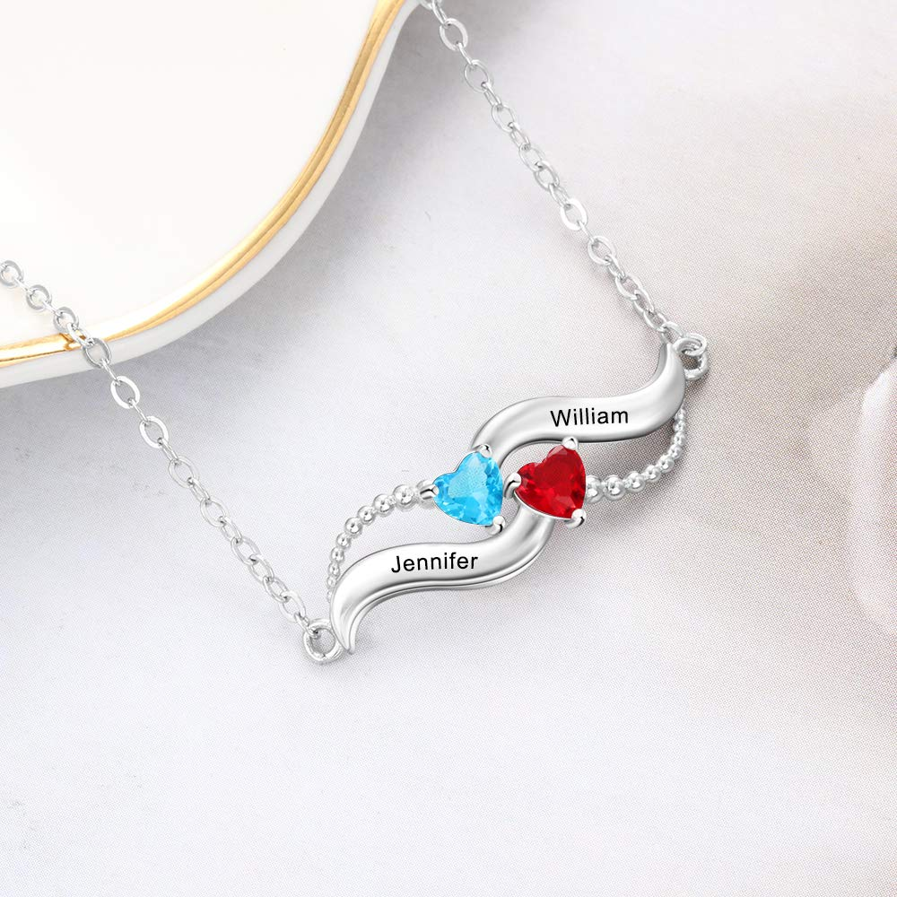 2 Heart Birthstones Personalized Couples Name Necklace