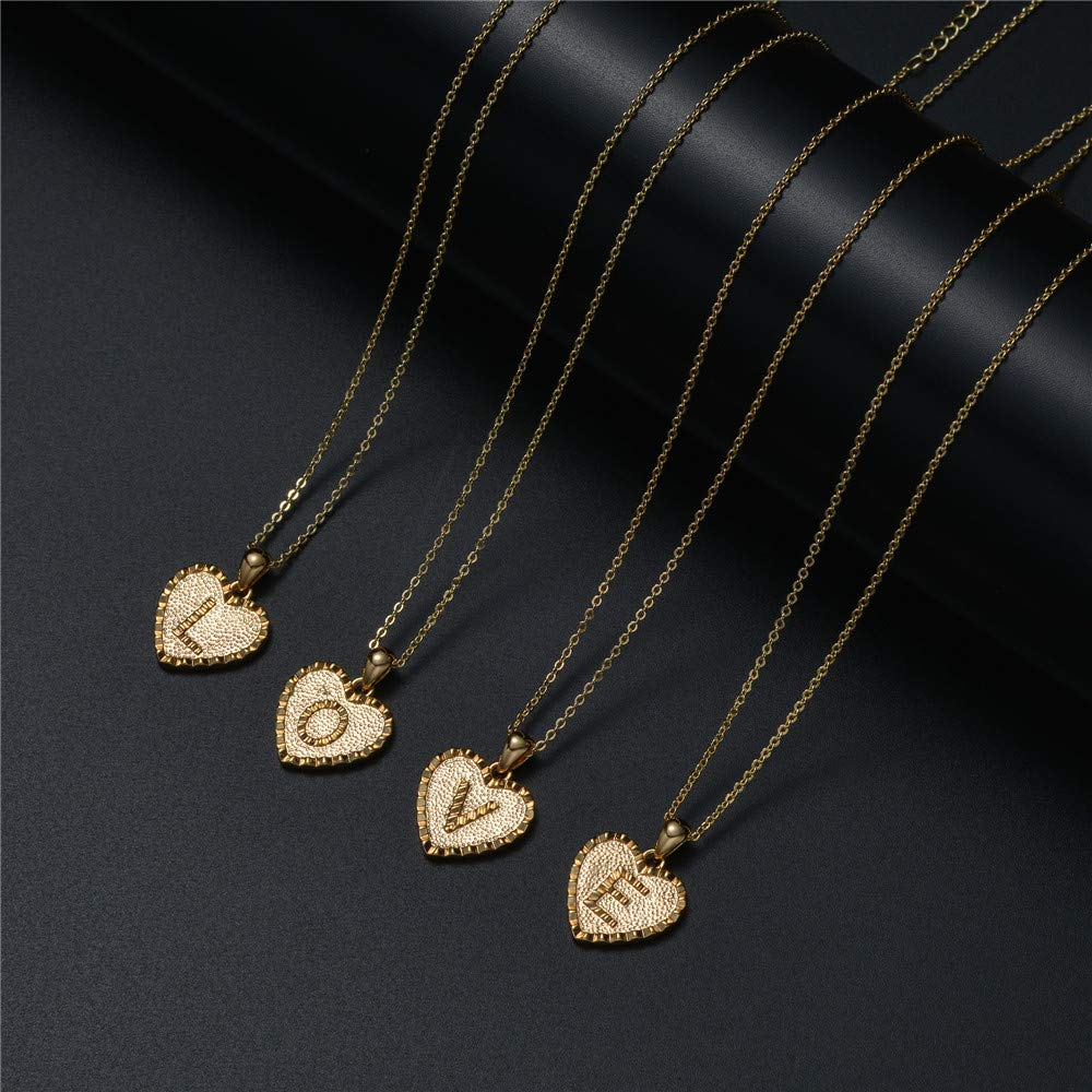 18K Gold Plated Heart Pendant Initial Letter Necklace