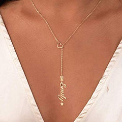 18K Gold Shaped Heart Necklace With Name - Silviax