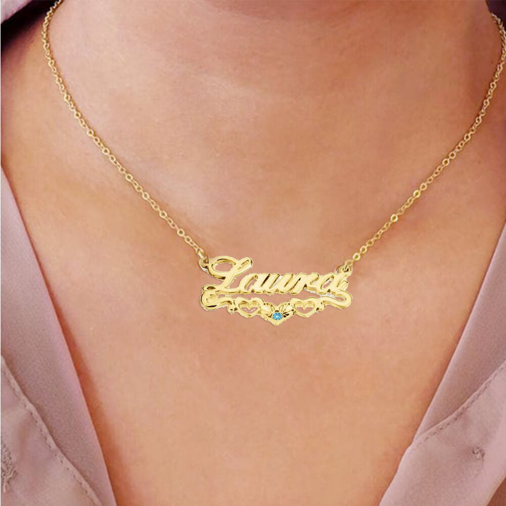 18K Gold Plated Personalized Heart-Shaped Birthstone Name Necklace - Silviax
