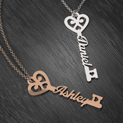 18K Gold Plated Key To True Love Personalized Name Necklace - Silviax