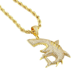Big Shark Pendant Necklace Hip Hop Style Gold Plated