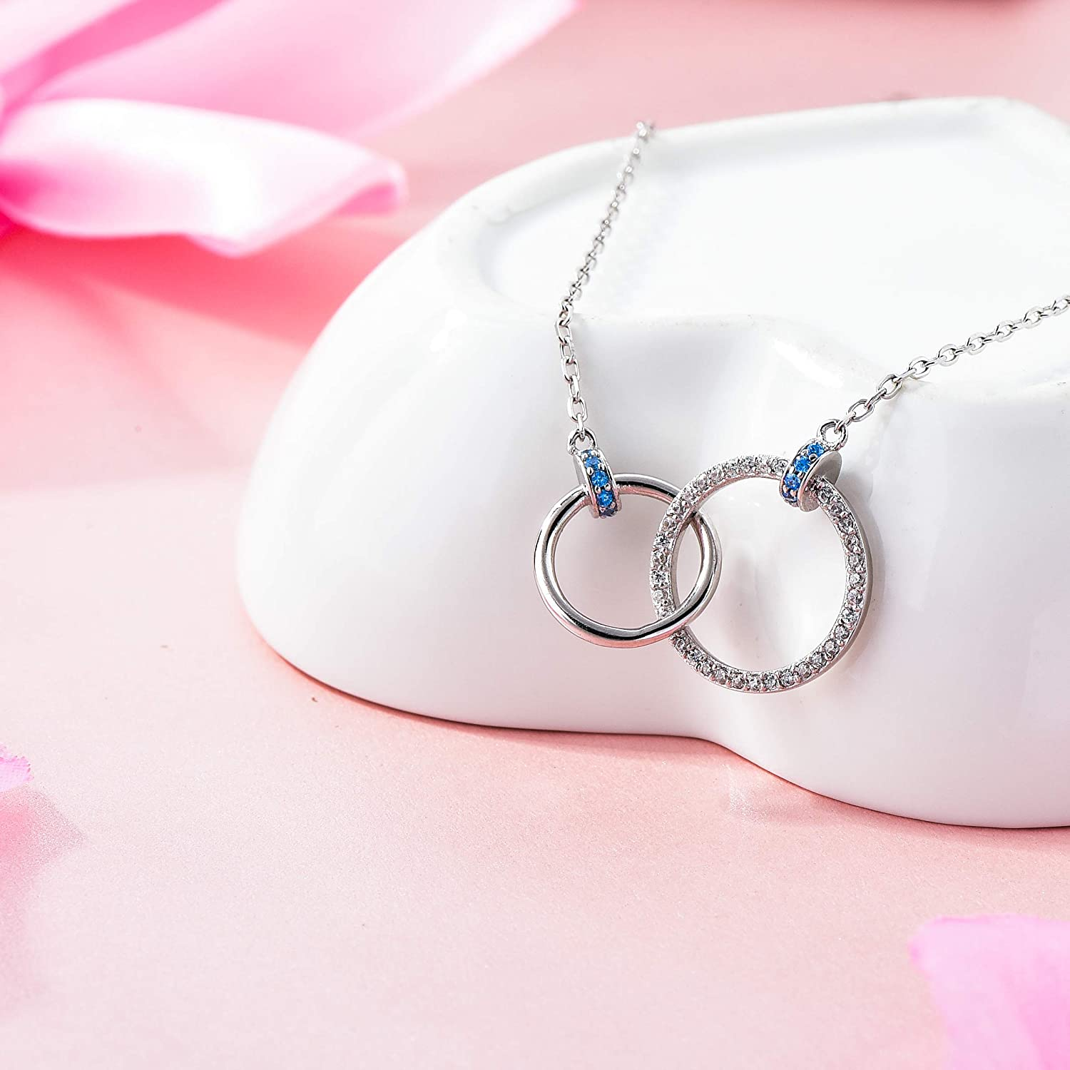 Two Interlocking Infinity Double 2 Blue Circles Pendants Necklace 925 Sterling Silver
