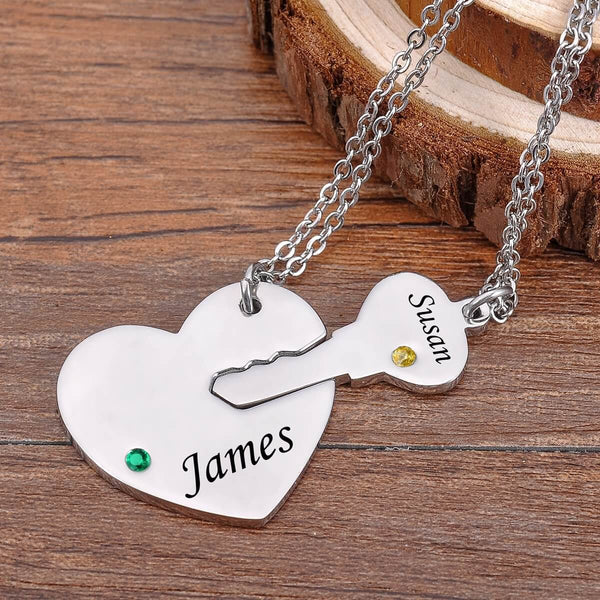 Personalized Custom Family Couple Lover With Birthstone 2 Names Necklace