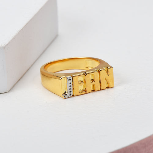 Two Tone Capital Letter 18K Gold Plated Personalized Name Ring
