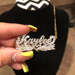 Two Tone Personalized Wing Heart Name Necklace