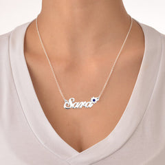 18K Gold Plated Personalized Birthstone Flower Name Necklace - Silviax