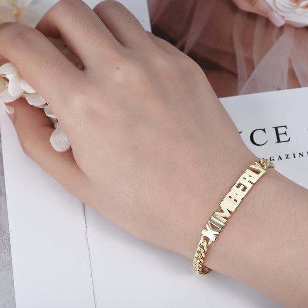 18K Gold Plated Personalized Capital Letter Name Bracelet