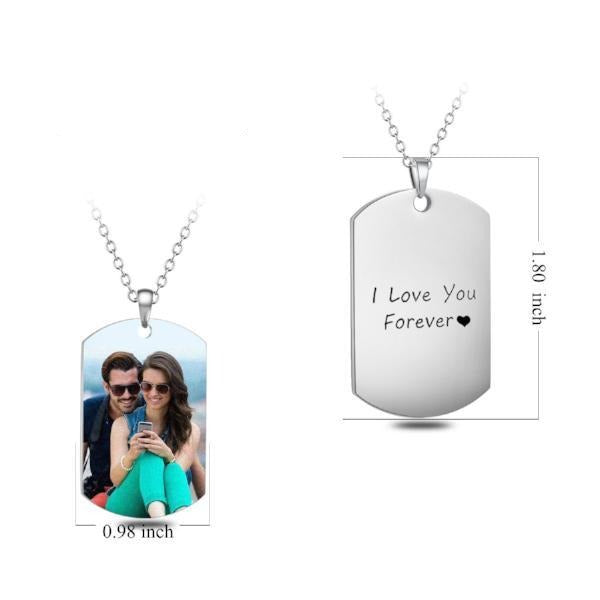 Copper, 925 sterling silver Personalized Engraved Color Photo Necklace
