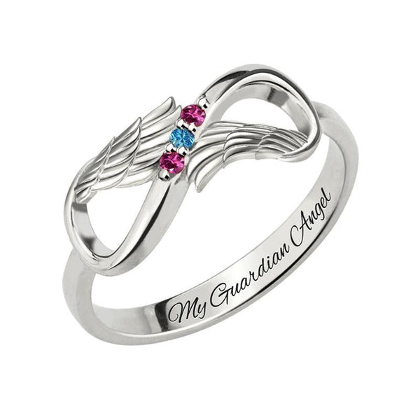 Silver Angel Wing Infinity Ring with name