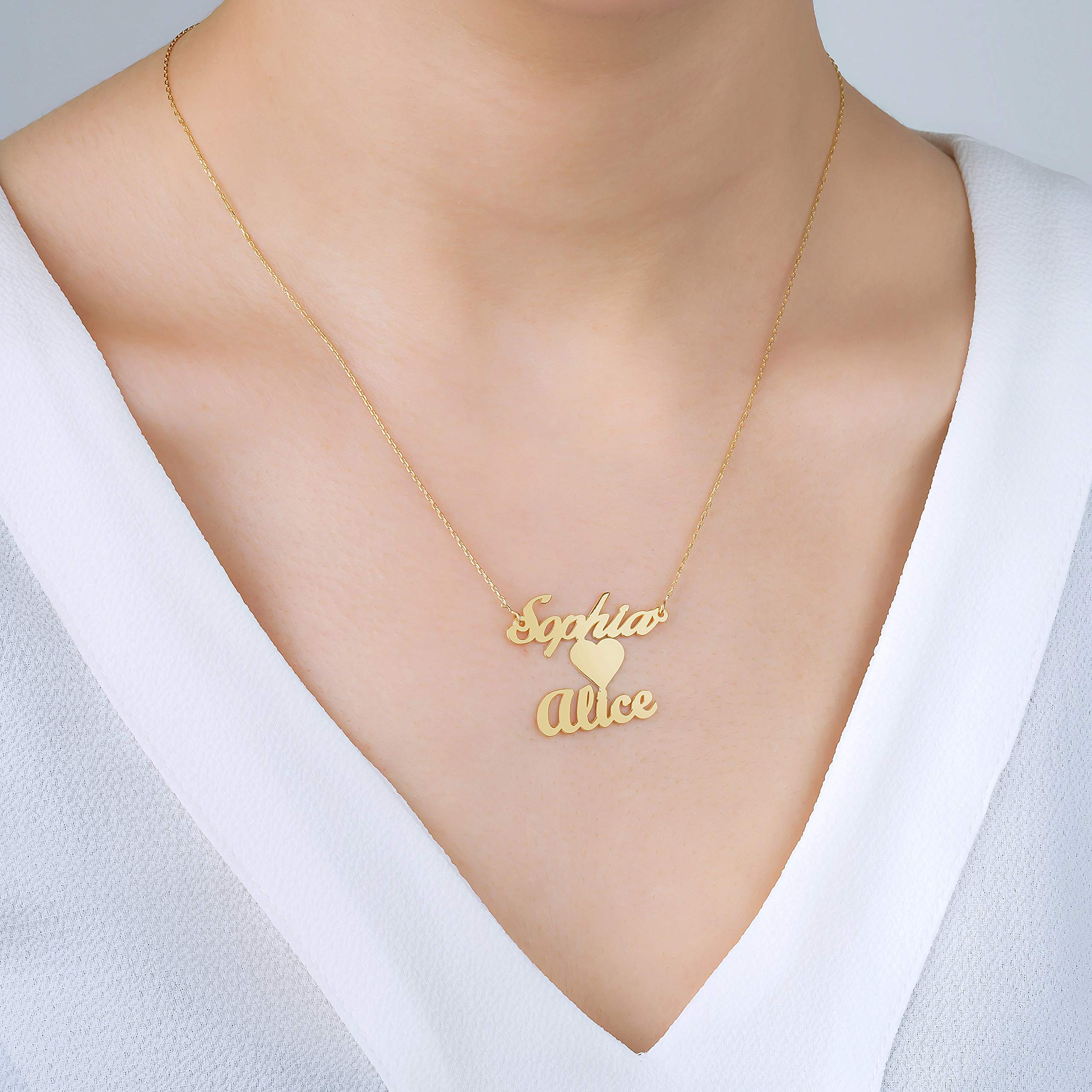 Heart Necklace In Middle With Two Names 18K Gold Plated