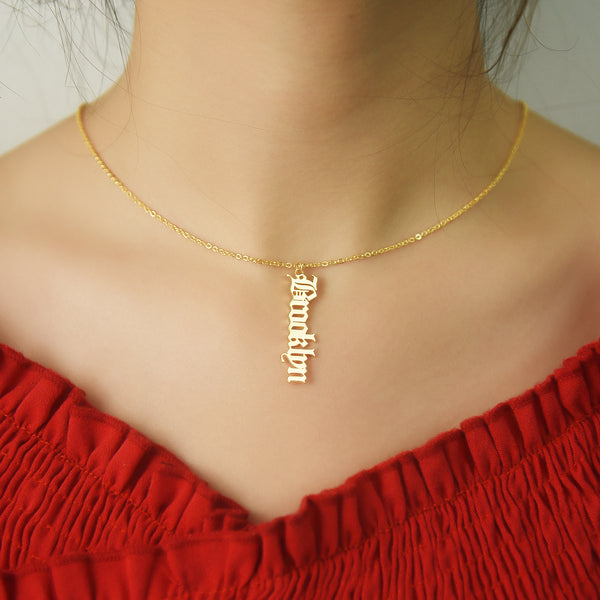 Vertical Old English Gold Plated Personalized Custom Name Necklace