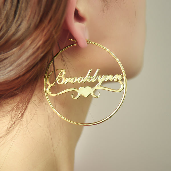 18k Gold Plated Personalized Hoop Name Earrings with Heart