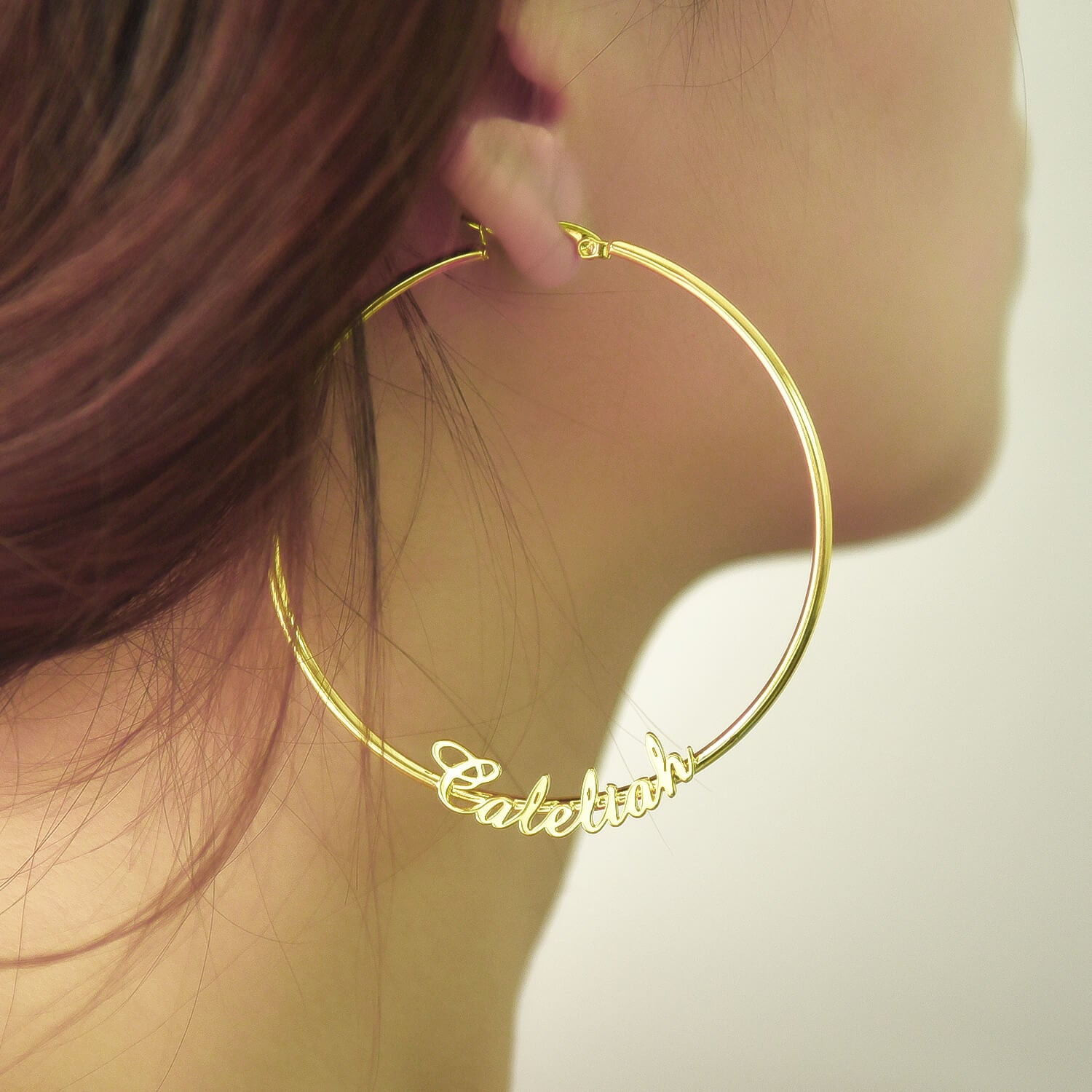 Customized Hoop 18k Gold Plated  Name Earring