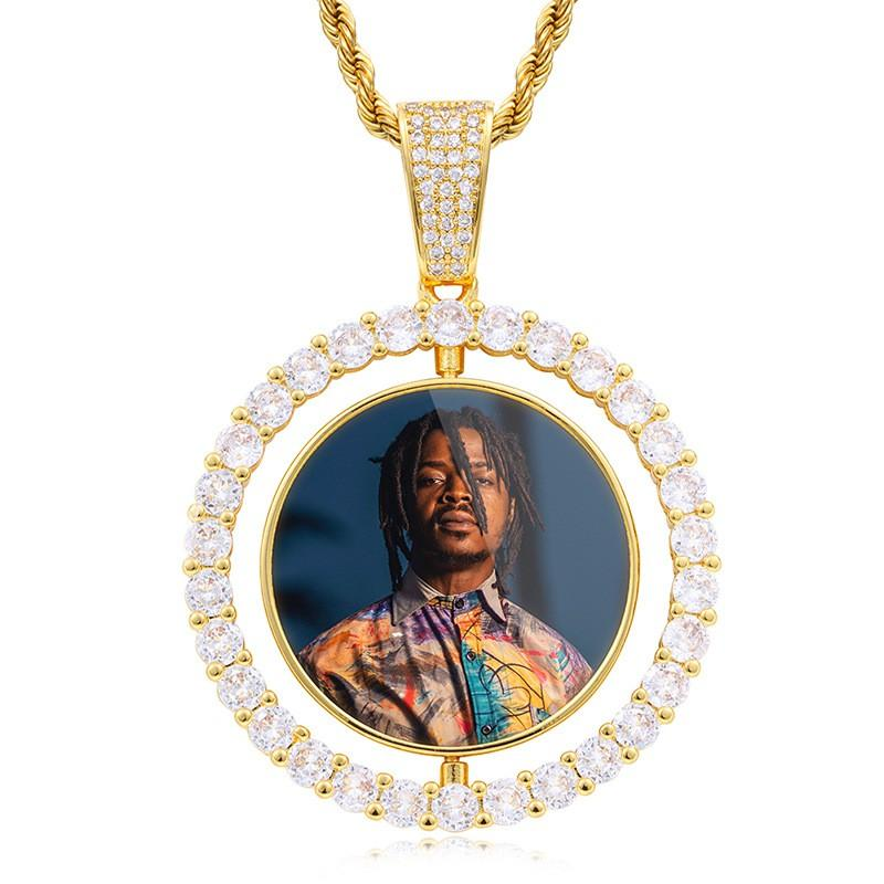 Rotating Double-Sided Round Pendant Gold Plated Personalized Photo Necklace