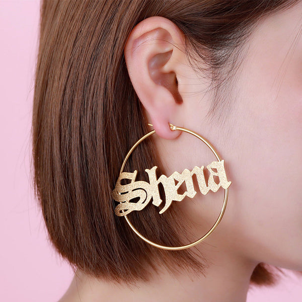 Gold Plated Personalized Sparkling Name Hoop Earrings