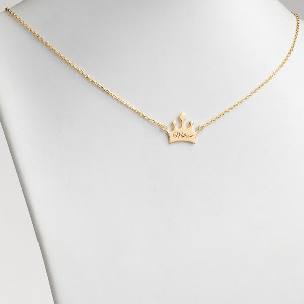 18K Gold Plated Personalized Engraved Name Crown Necklace - Silviax