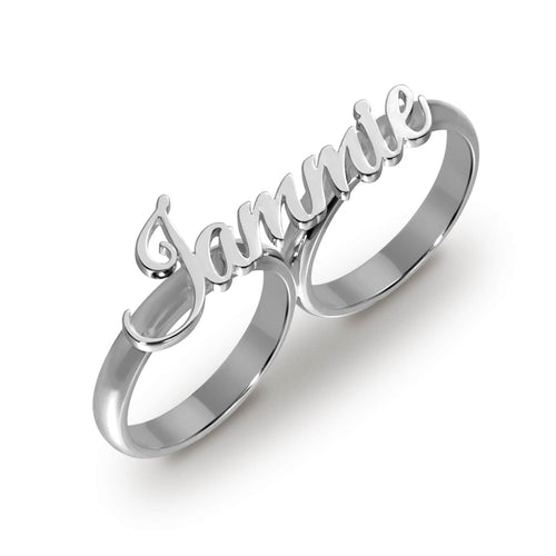 18k Gold Plated Two Finger personalized Name Ring For Gift