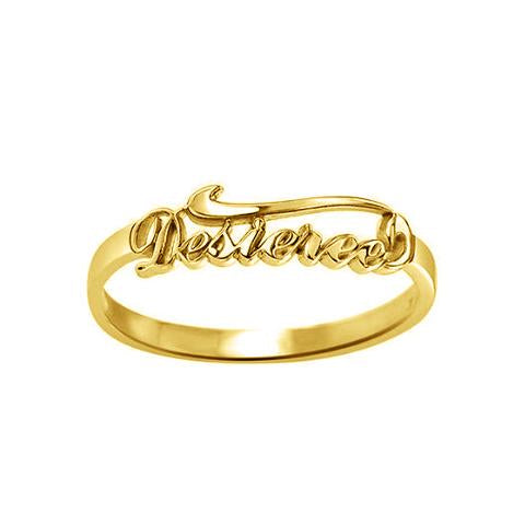 Gold Plated Personalized Script Name Ring