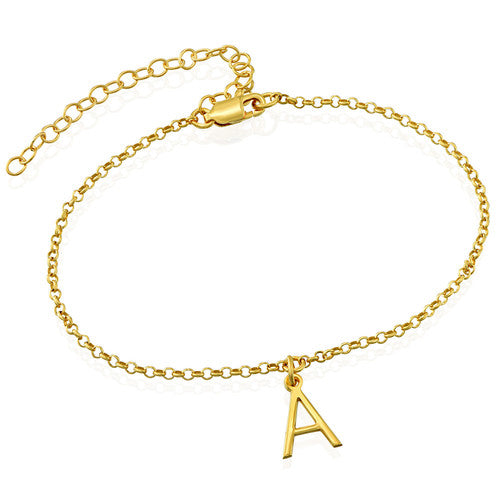 18K Ankle Bracelet with Initial in Gold Plating - Silviax