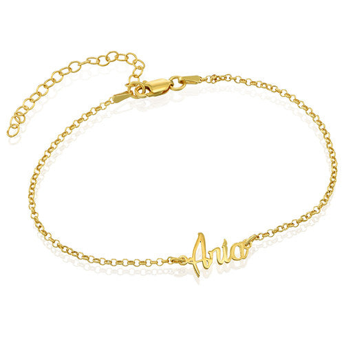 18K Gold Plated Anklet with Name Pendant Copper