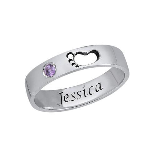 Sterling Silver Baby Feet Ring with name