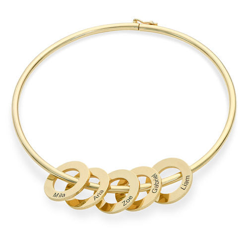 18K Bangle Bracelet with Round Shape Pendants in silver