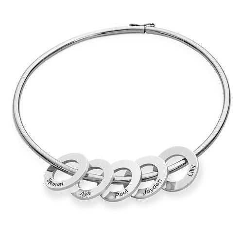 18K Bangle Bracelet with Round Shape Pendants in silver - Silviax