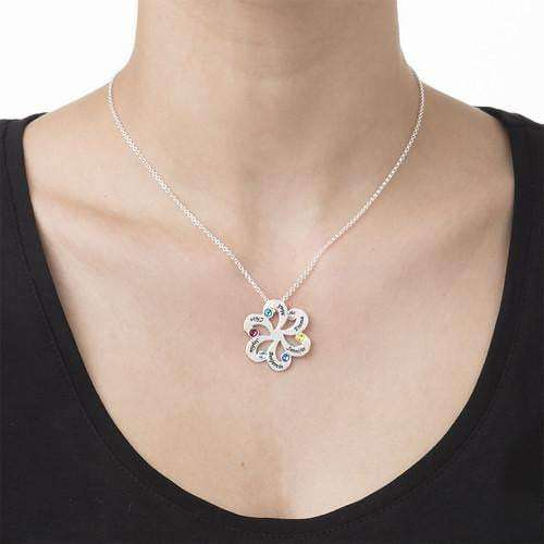 1-6 Birthstone Flower Shaped Family Necklace - Silviax