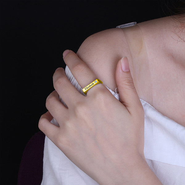 Engraved Bar Ring With Birthstone 18K Gold Plated