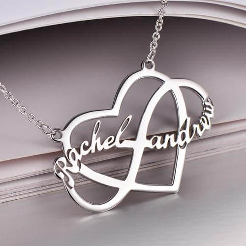 18K Gold Heart & Infinity Necklace With Two Name Girl Gift