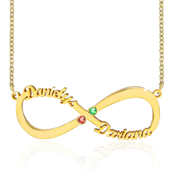 Infinity Necklace With Any 2 Names 18K Gold Plated
