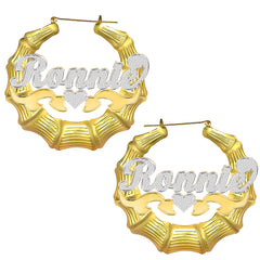 Two Tone 18K Gold Plated Bamboo Name Earrings with Heart
