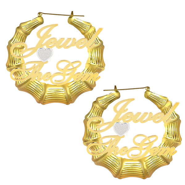 18K Gold Plated Two Names Bamboo Earrings with Heart Two Tone
